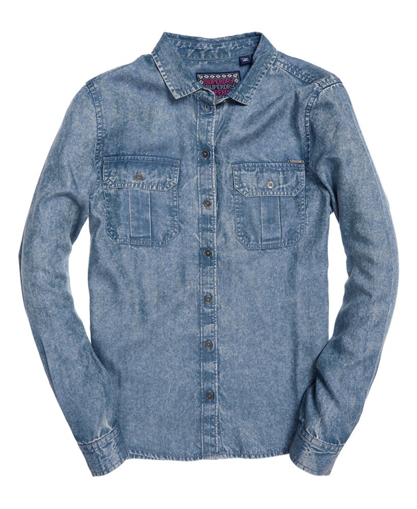 Superdry Xenia Acid Wash Shirt Blue Acid Wash