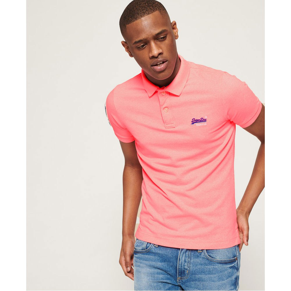 Superdry - Classic Superstate Pique Polo - Pink Fluro Grit