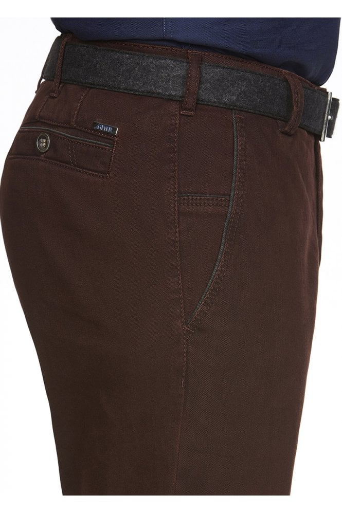 Meyer New York Cotton Twill Chino Trousers - Burgundy