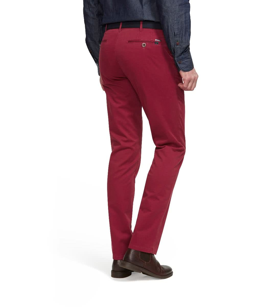 MEYER Roma Modern Slim Stretch Cotton Trousers - Red