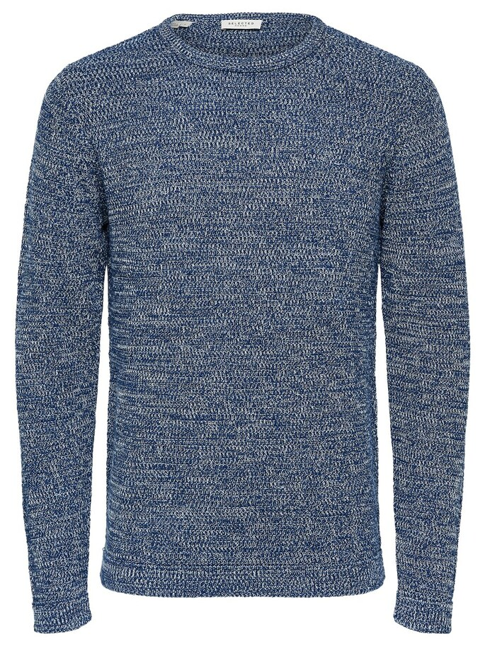 Selected Cotton Knitted - Pullover - Blue / Navy Peony