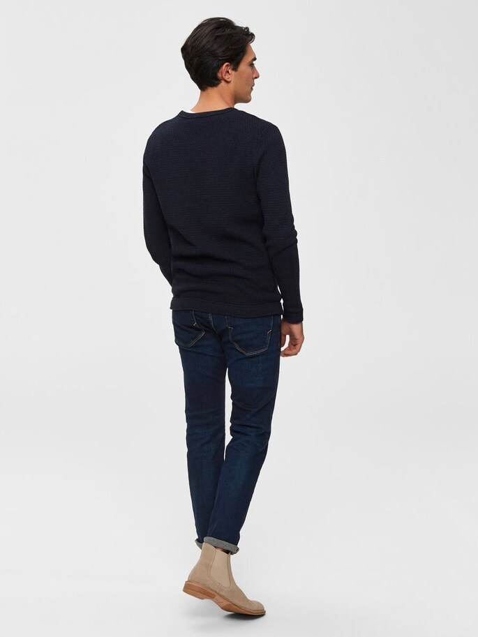 Selected Cotton Knitted Pullover - Navy