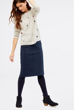White Stuff Blackwater Denim Jersey Skirt