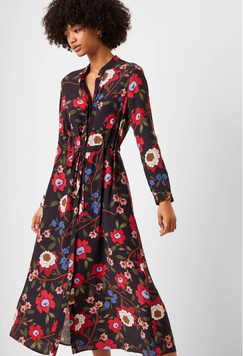 French Connection - Eloise Drape Midi Shirt Dress