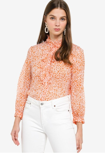 French Connection - Cade Crinkle Ruffle Neck Blouse