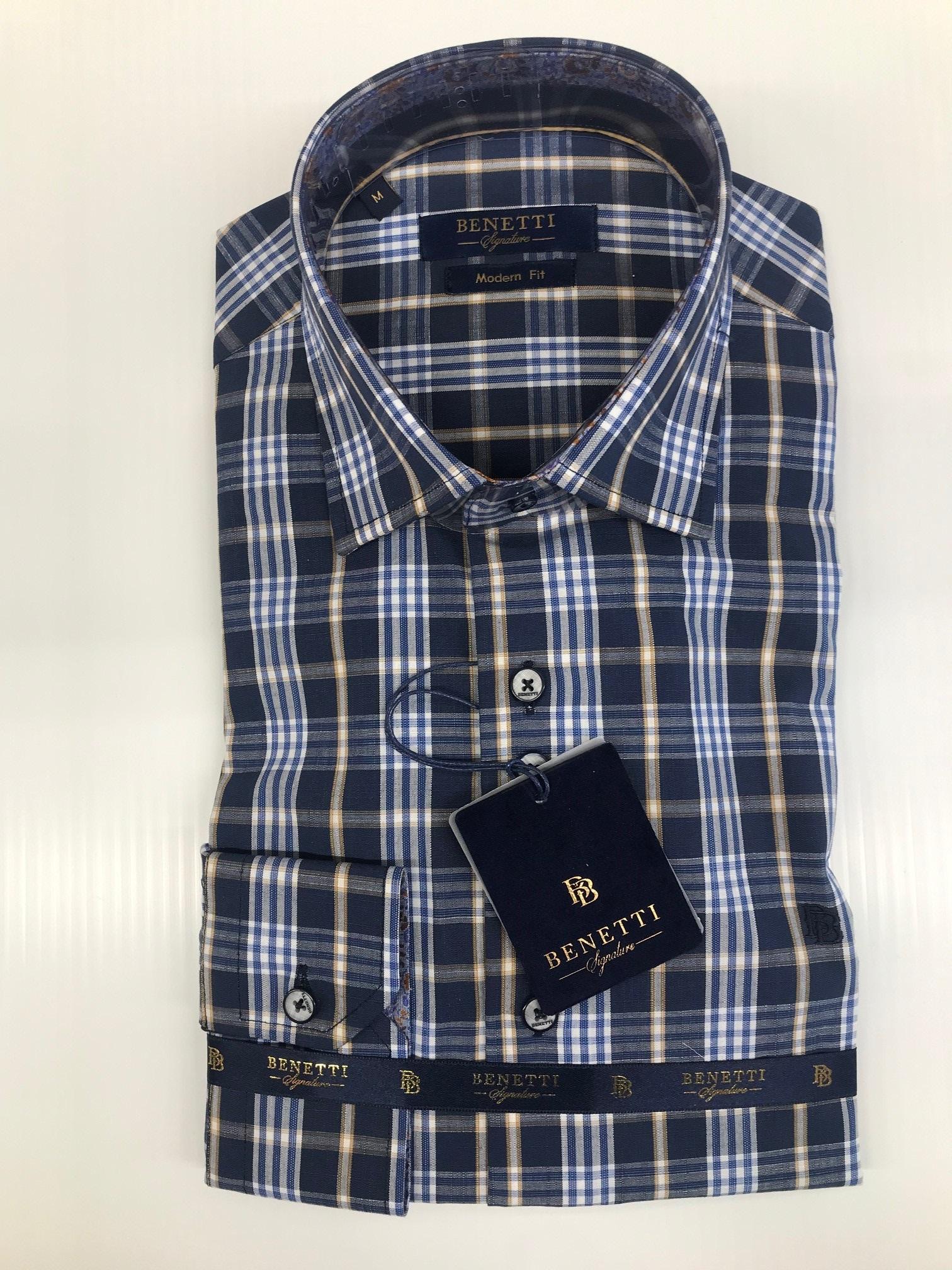 Benetti | Modern Fit Shirt in Blue & Navy