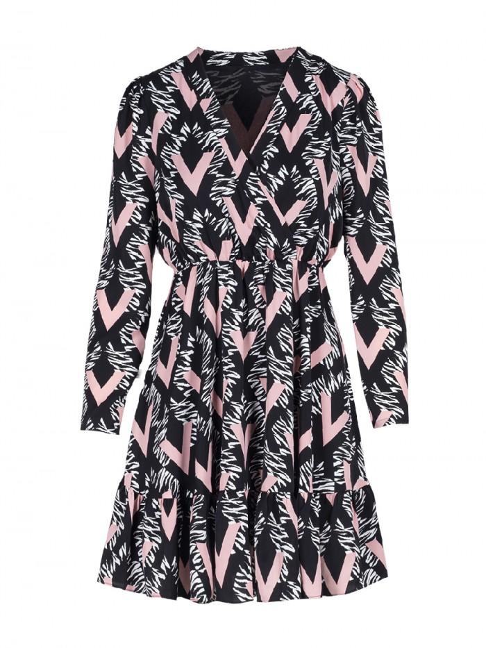 Short Dress Cross Neckline Tick Print