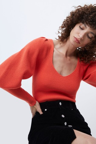 French Connection Joss Knit Puff Sleeves