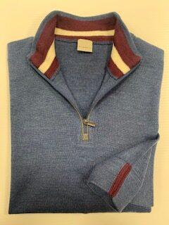 Bugatti Blue 1/2 Zip Knit