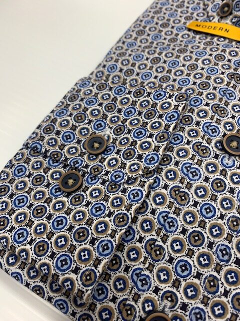 Bugatti Shirt Blue Circle Print