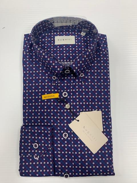 Bugatti Shirt - Navy/Burgundy Print