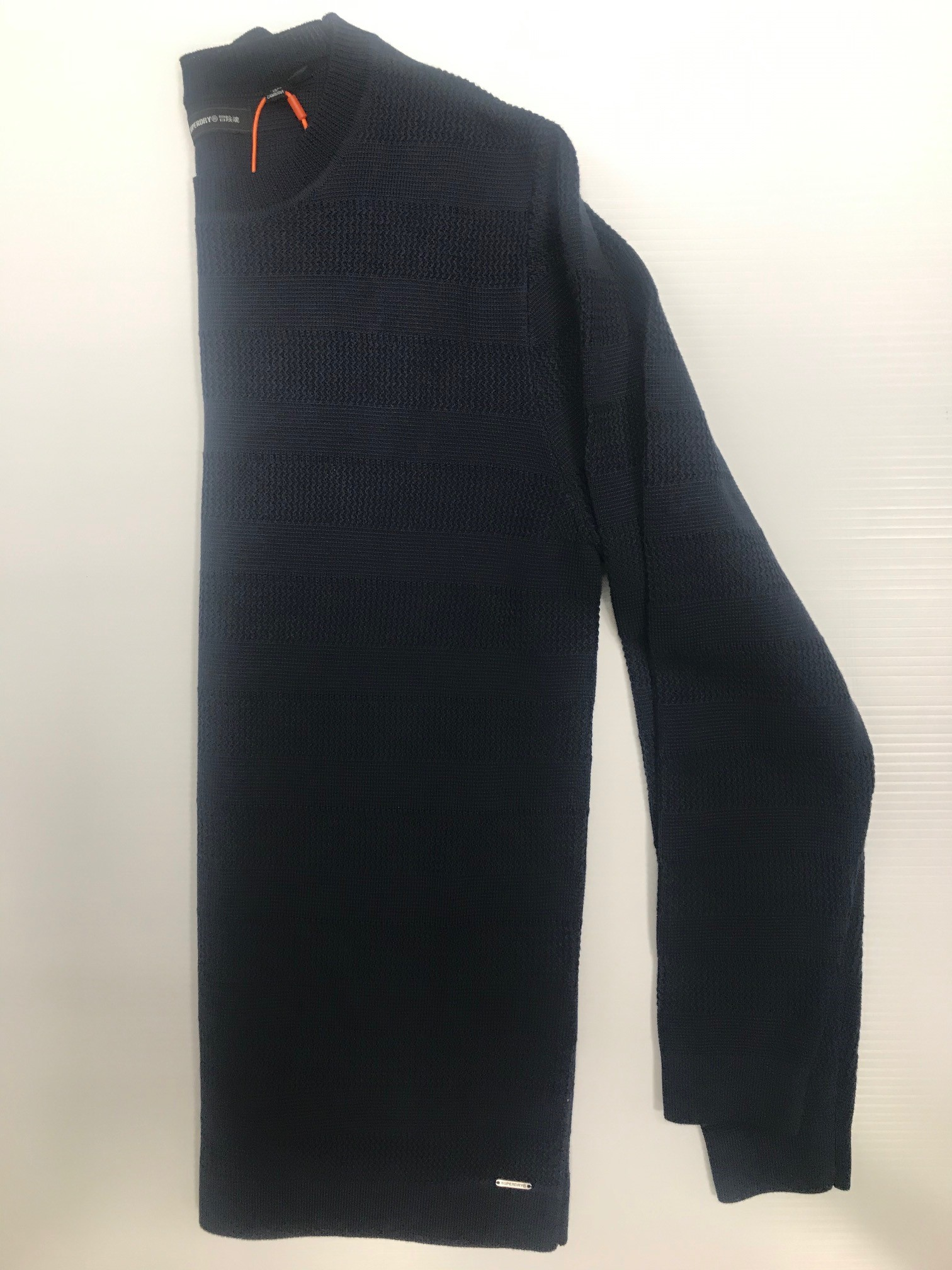 Superdry Fine Textured Crew - Navy