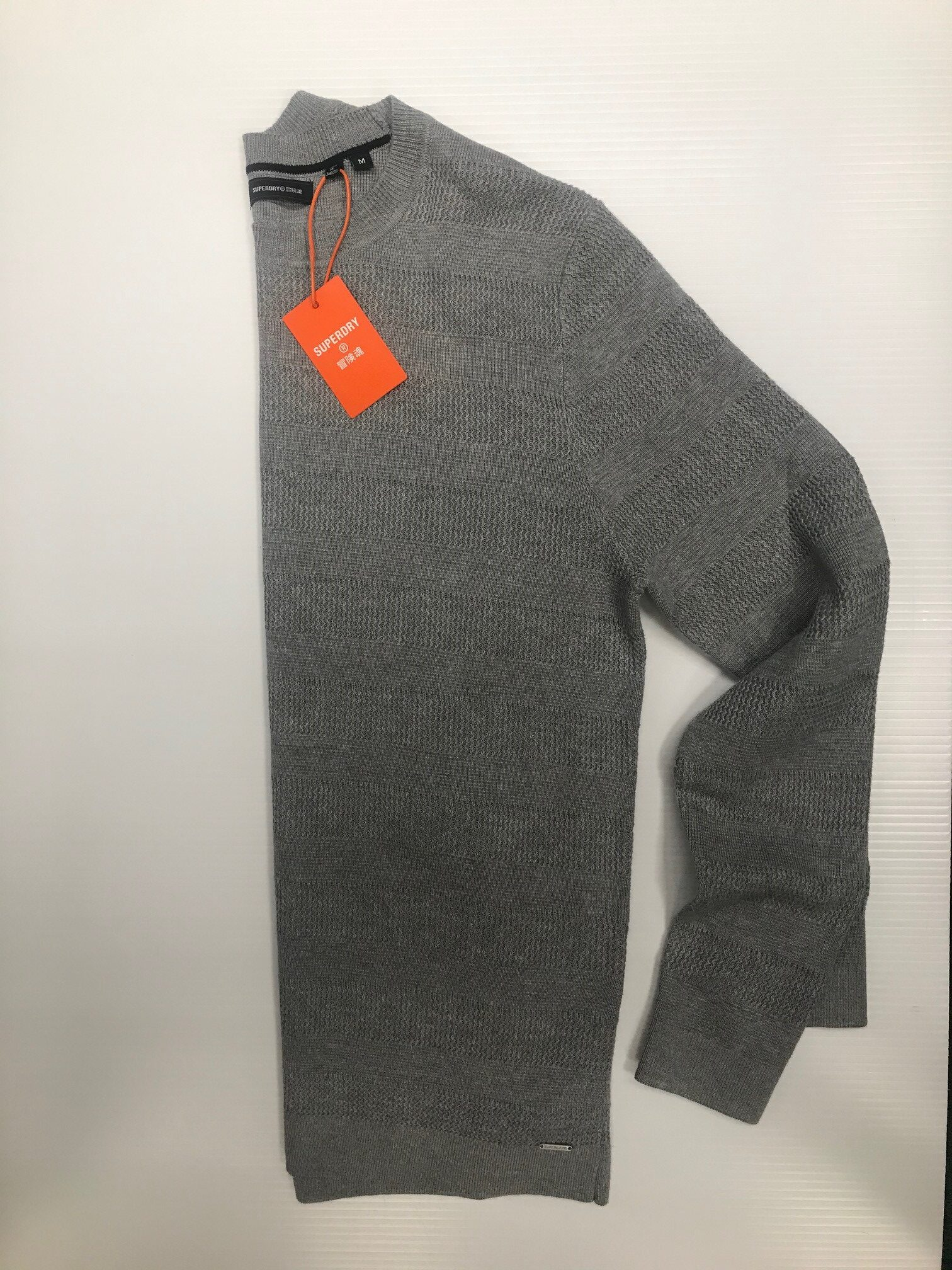 Superdry Fine Textured Crew - Grey