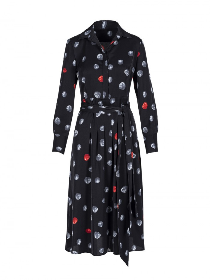 Shirt Collar Dress Moon Print