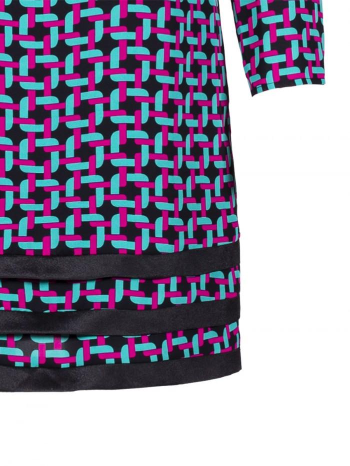 Tunic Dress Round Neck Braid Print