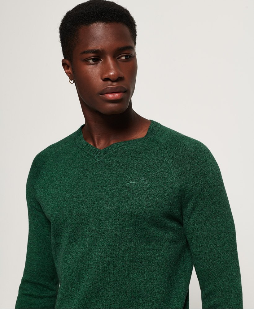 SuperDry |Orange Label Cotton Vee Green Jumper