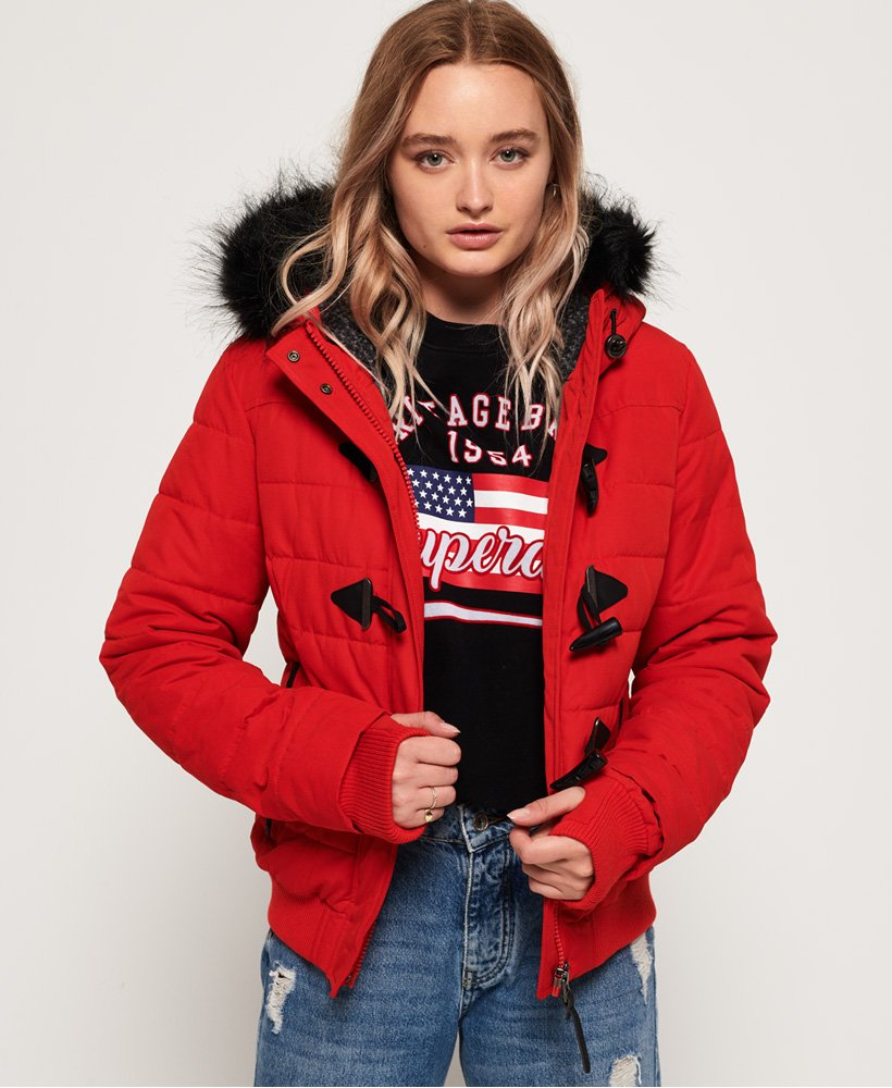 Superdry Microfibre Toggle Puffer Jacket - Red