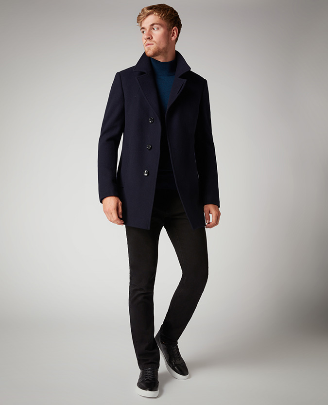 Remus Uomo | Tapered Fit Wool-Rich Overcoat