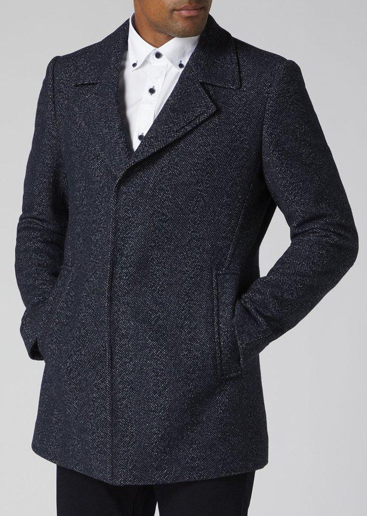 Remus Uomo | Lohmann Navy Textured Overcoat