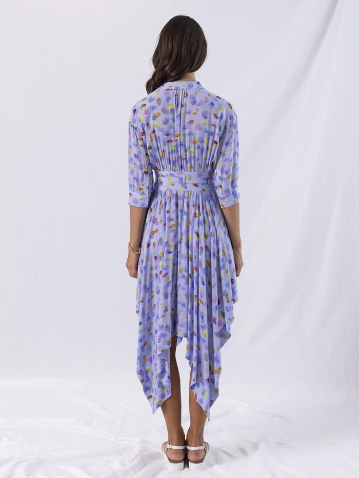 A - Disty Asymmetric Half Sleeve Long Dress