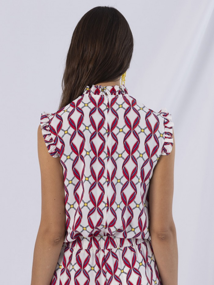 ANONYME- High Neck Sleeveless Tape Top