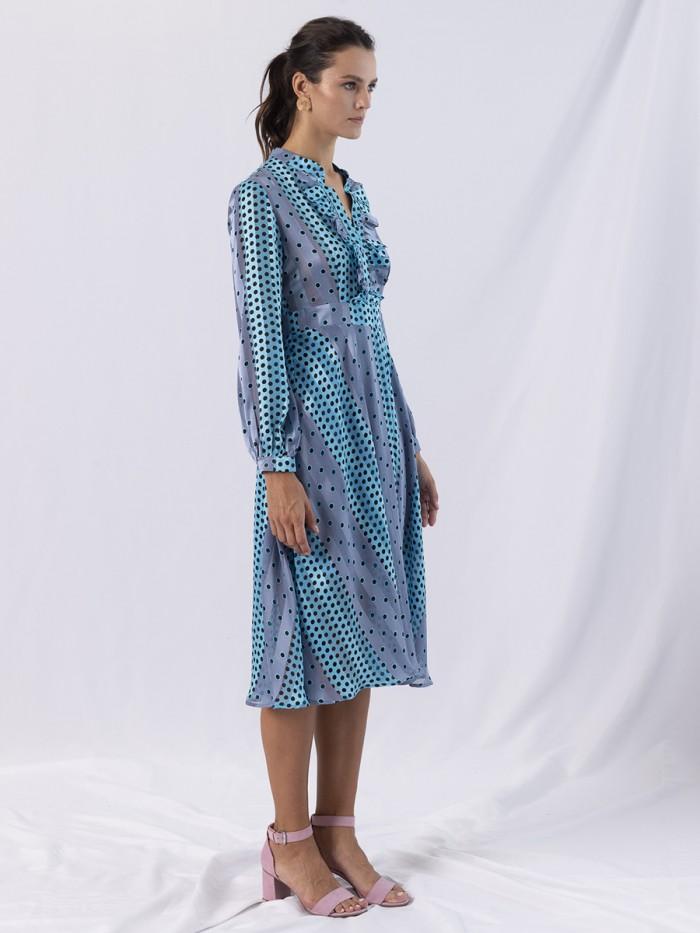 ANONYME | Long Shirt Dress Dots Ruffles