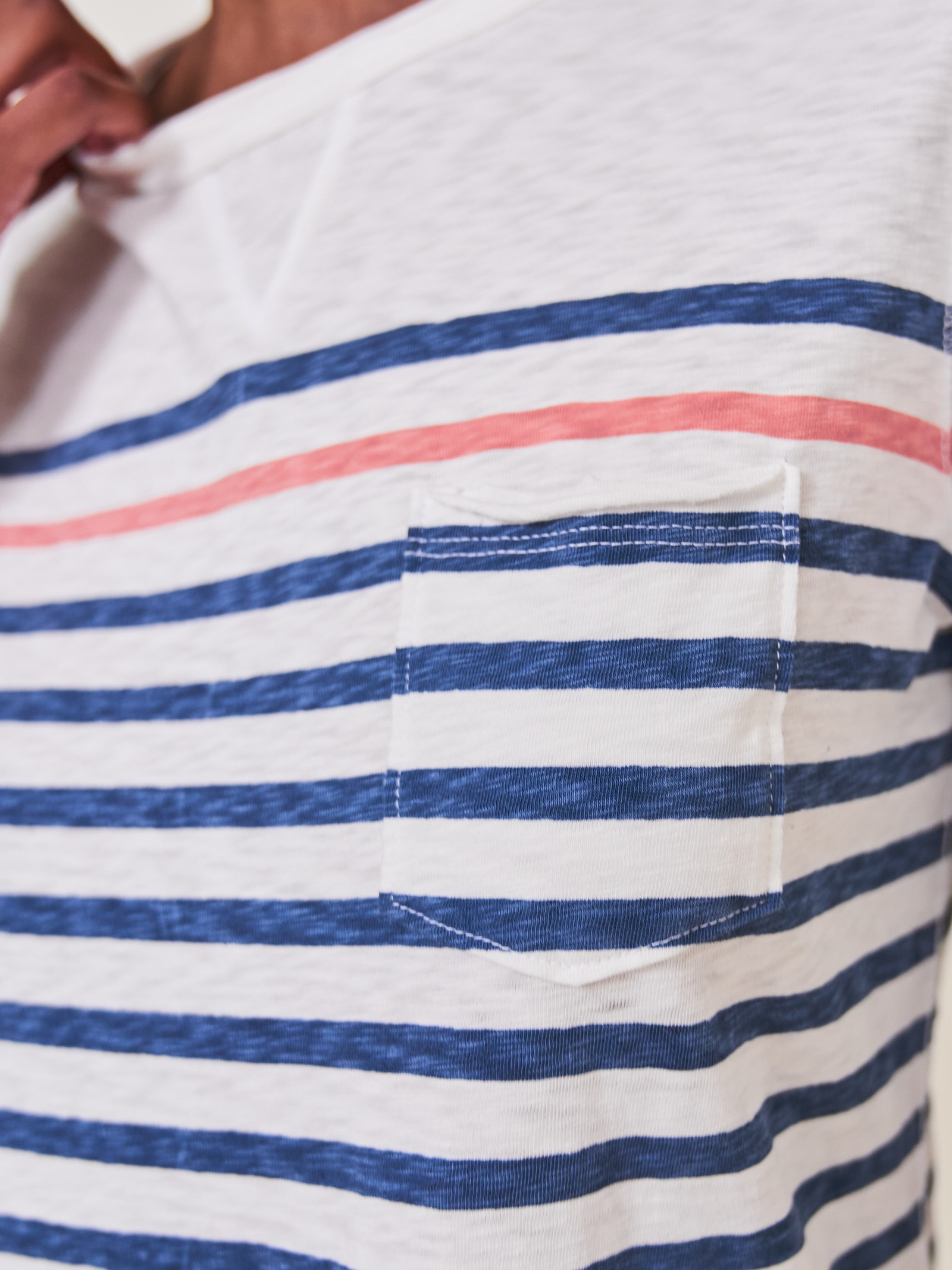 White Stuff | Petunia Pocket T-Shirt Blue Striped