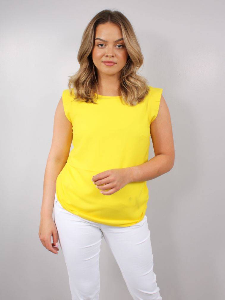 French Connection| Bright Daffodil Crepe Light Cap Sleeve Top