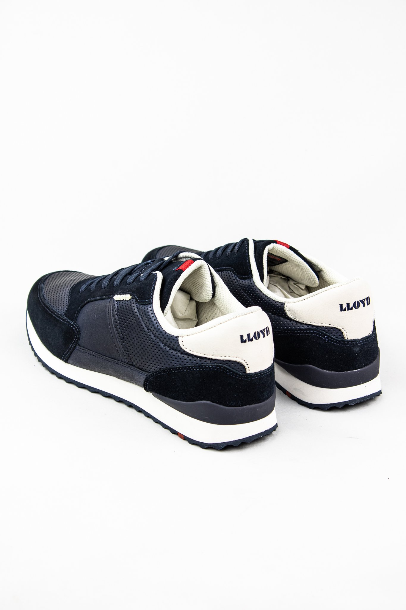 Lloyd Ellard | Navy Leather Casual Shoes with White Contrast