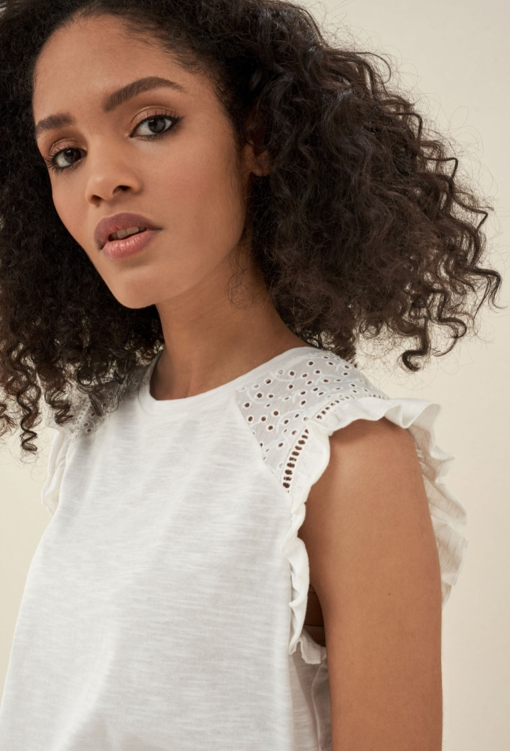 SALSA   Top with Lace and Frills on Sleeve