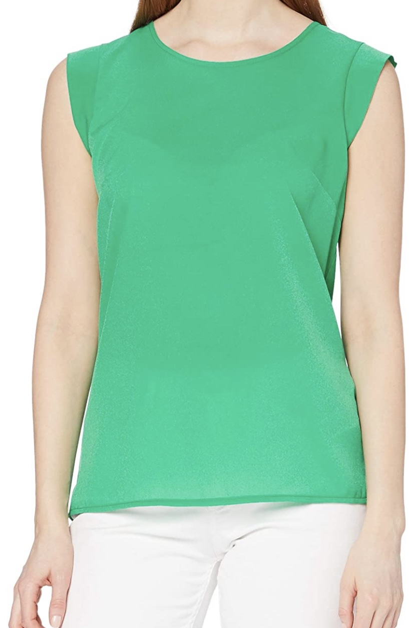 French Connection | CREPE LIGHT SLEEVELESS GREEN TOP