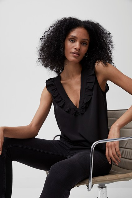French Connection| Black V Neck Ruffled Top