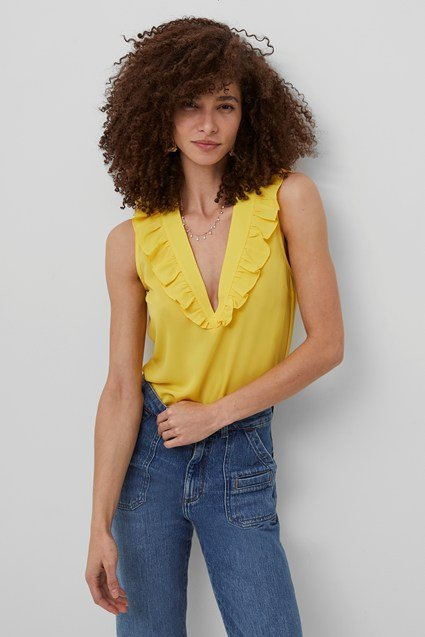 French Connection | Yellow V Neck Ruffled Top