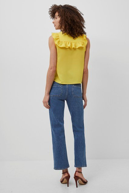 French Connection   Yellow V Neck Ruffled Top