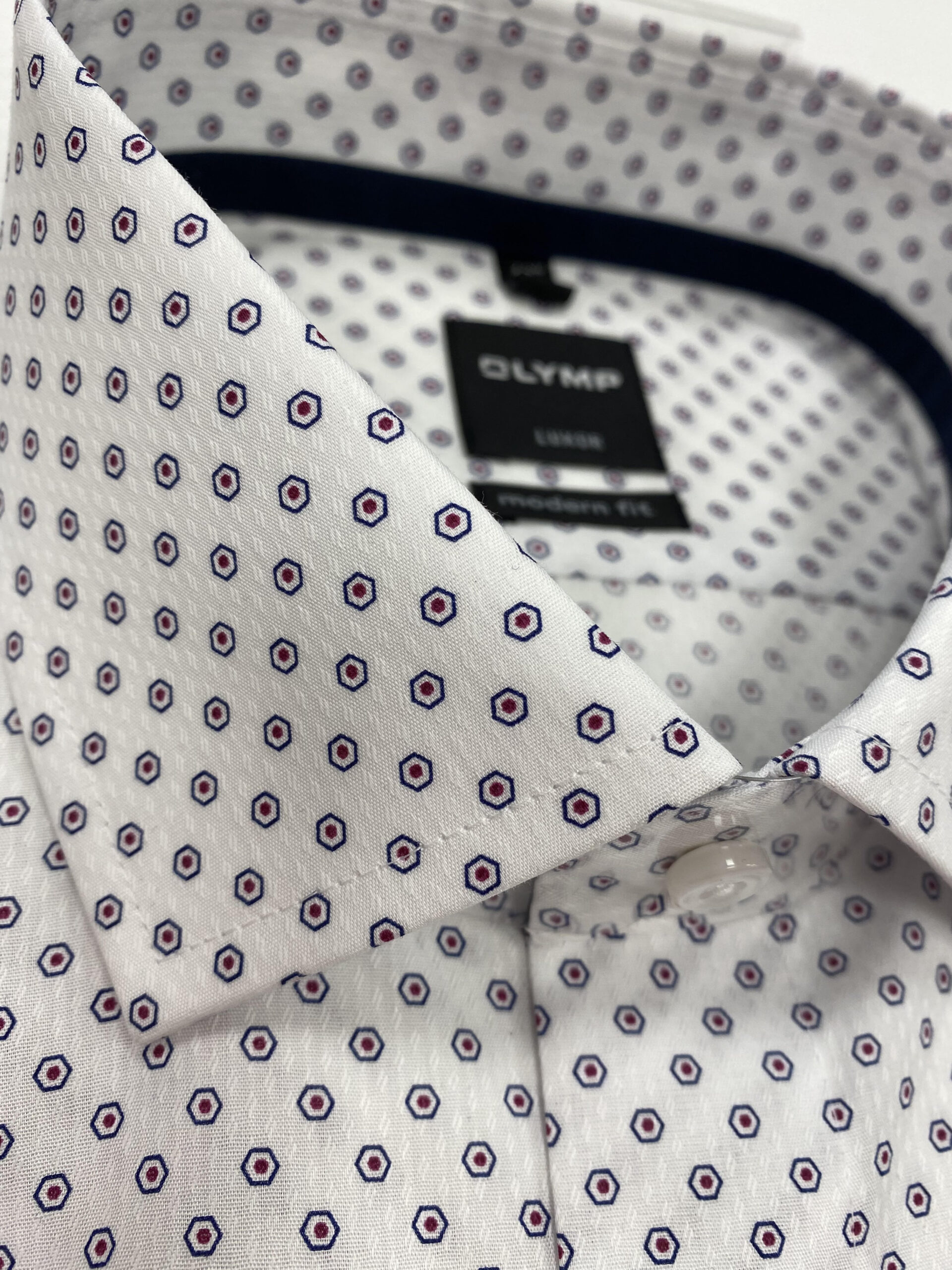 OLYMP | Modern Fit White Shirt With Pattern