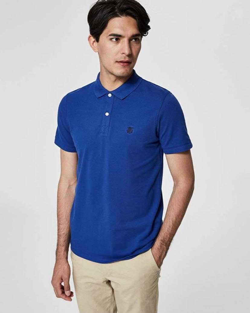 SELECTED | Men's Blue Embroidery Polo