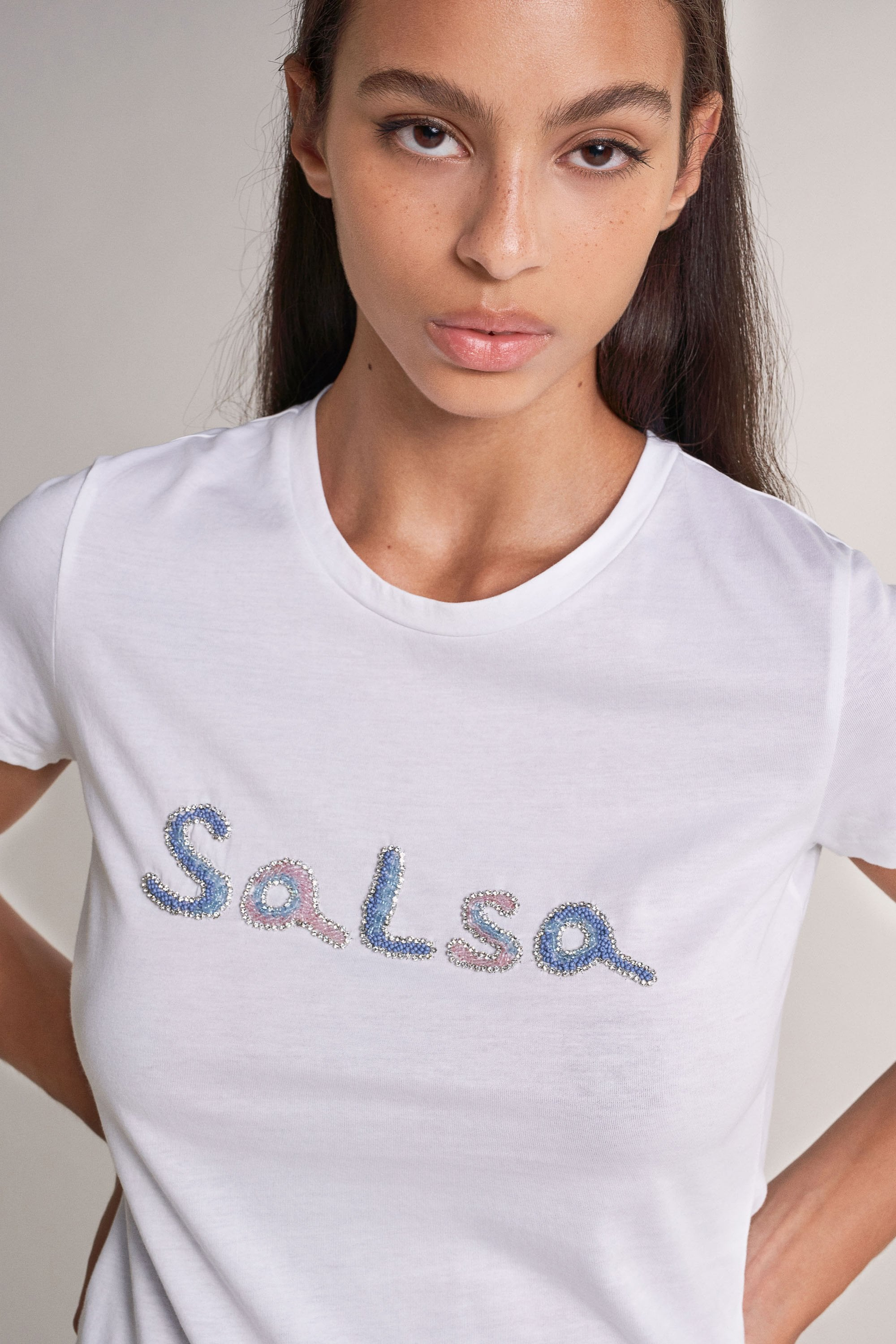 SALSA | T-Shirt With Logo In Beads