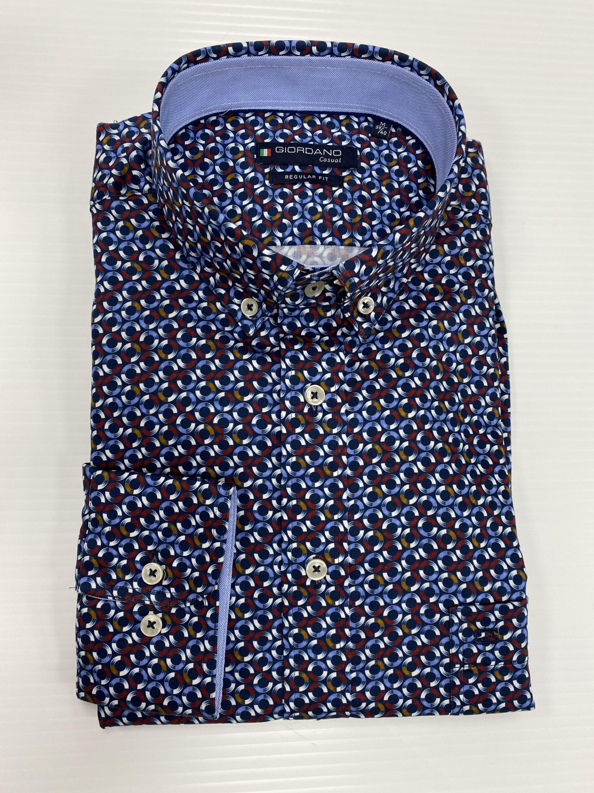 GIORDANO | Casual Regular Fit Shirt - Navy and Red