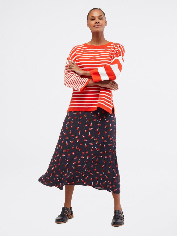 White Stuff | Bouquet Bias Skirt - Navy & Red