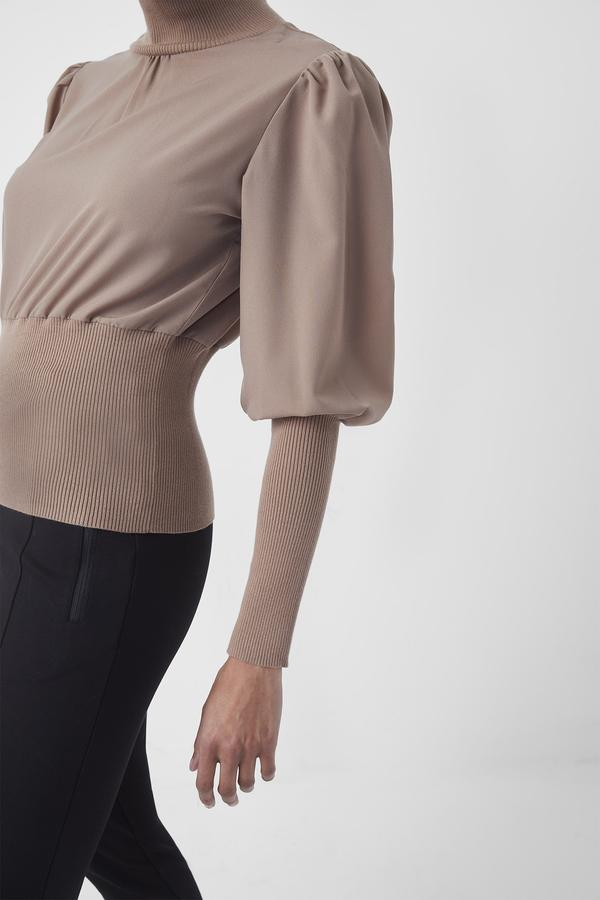French Connection | Krista Knit High Neck Jumper { Camel }