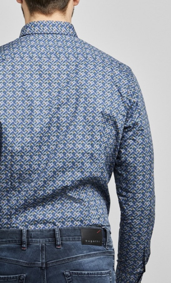 Bugatti | Blue Shirt With Pattern